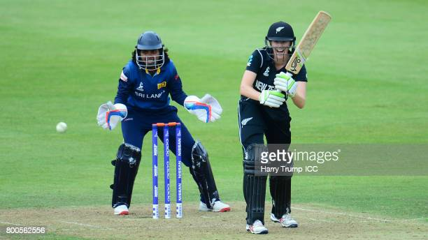 Amy Satterthwaite of New Zealand bats during the ICC Women's World Cup 2017 match between New Zealand and Sri Lanka at the Brightside Ground on June...