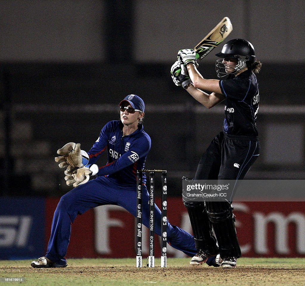 Amy Satterthwaite of New Zealand bats during the Super Sixes ICC Women's World Cup India 2013 match between New Zealand and England at the Cricket Club of India ground on February 13, 2013 in Mumbai, India.