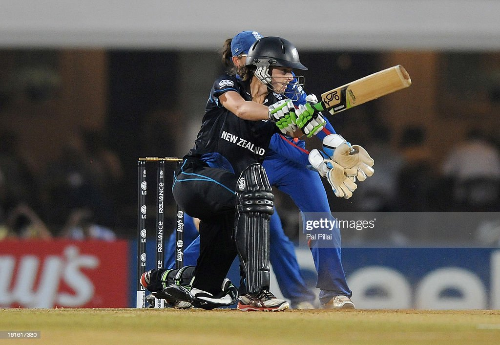 Amy Satterthwaite of New Zealand bats during the Super Sixes match between England and New Zealand held at the CCI (cricket club of India) on February 13, 2013 in Mumbai, India.