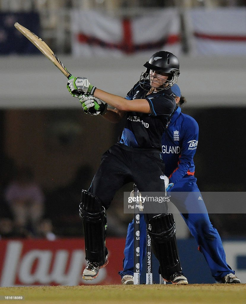 Amy Satterthwaite of New Zealand bats during the Super Sixes match between England and New Zealand held at the Cricket Club of India on February 13, 2013 in Mumbai, India.