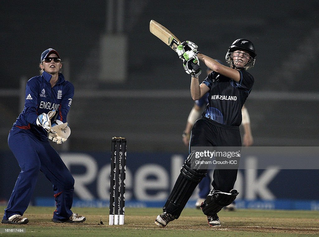 Amy Satterthwaite of New Zealand batting during of the Super Sixes ICC Women's World Cup India 2013 match between New Zealand and England at the Cricket Club of India ground on February 13, 2013 in Mumbai, India.