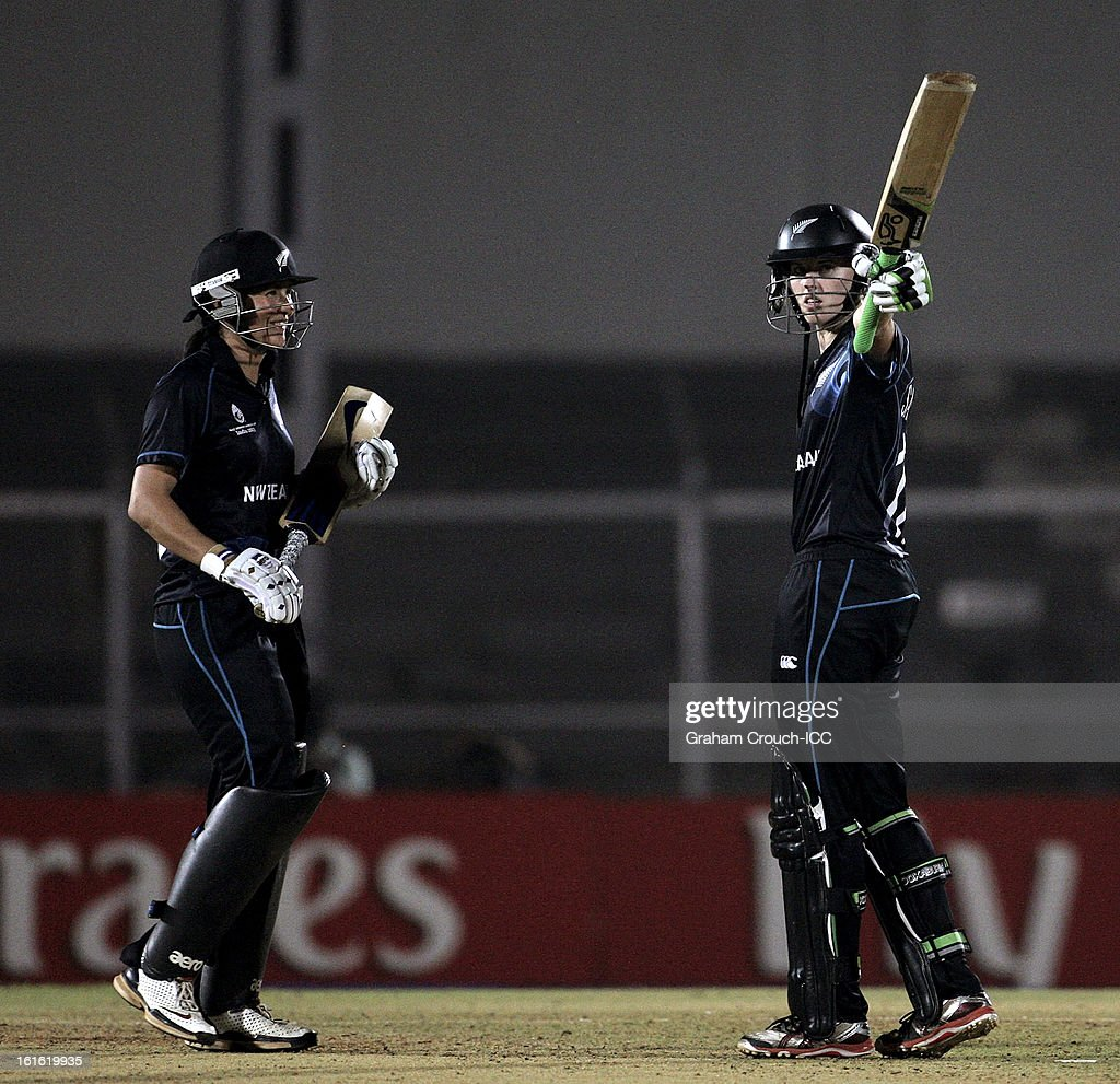 Amy Satterthwaite of New Zealand celebrates scoring 100 runs during the Super Sixes ICC Women's World Cup India 2013 match between New Zealand and England at the Cricket Club of India ground on February 13, 2013 in Mumbai, India.