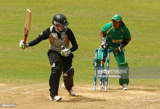 Amy Satterthwaite of New Zealand is bowled out by Dane van Niekerk of South Africa during the ICC Women's Twenty20 World Cup match between New...