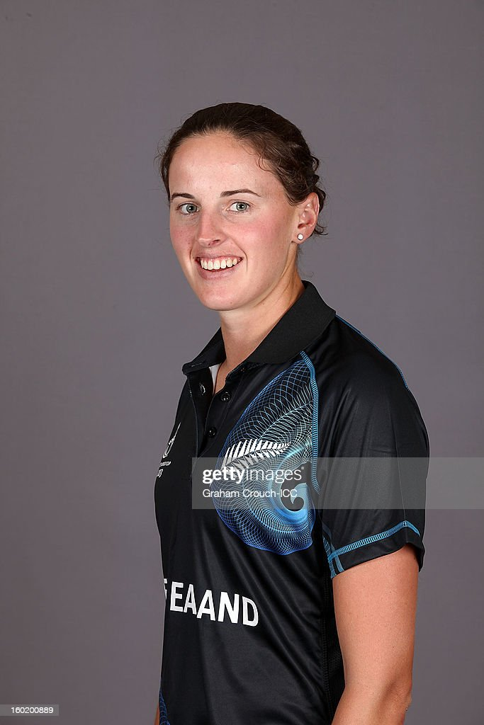 Amy Satterthwaite of New Zealand poses at a portrait session ahead of the ICC Womens World Cup 2013 at the Taj Mahal Palace Hotel on January 27, 2013 in Mumbai, India.