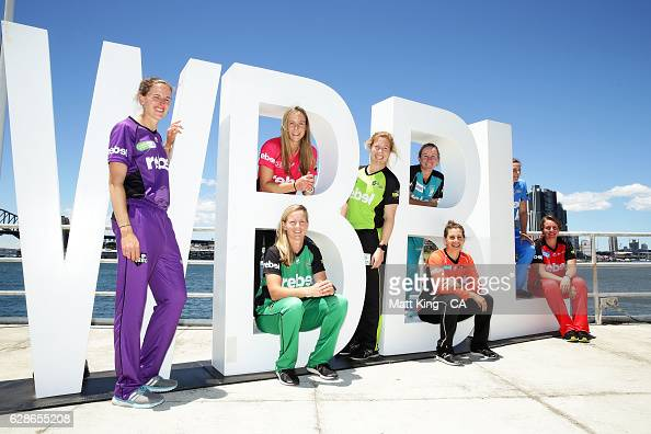 Amy Satterthwaite of the Hobart Hurricanes Ellyse Perry of the Sydney Sixers Meg Lanning of the Melbourne Stars Alex Blackwell of the Sydney Thunder...