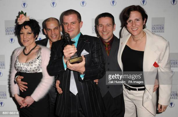 Amy Saunders Serge Deslauriers Enock Turcotte Brett Haylock and Ursula Martinez of La Clique win the Best Entertainment Award during the Laurence...