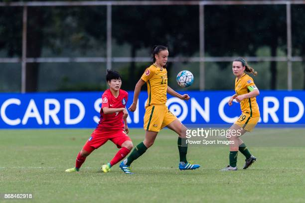 Amy Sayer of Australia in action against Choi Jina of South Korea during their AFC U19 Women's Championship 2017 Group Stage B match between South...