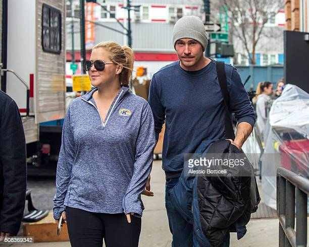 Amy Schumer and Ben Hanisch are seen heading to set of 'Inside Amy Schumer' early in the morning on February 4 2016 in New York City