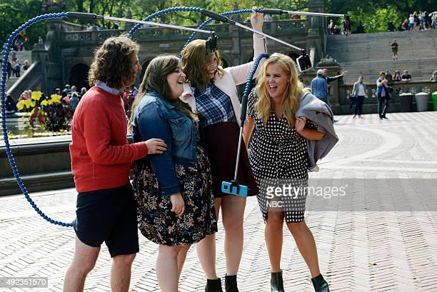 LIVE 'Amy Schumer' Episode 1685 Pictured Kyle Mooney Aidy Bryant Vanessa Bayer and Amy Schumer during the 'Selfie Stick' sketch on October 10 2015