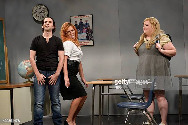 LIVE 'Amy Schumer' Episode 1685 Pictured Kyle Mooney Amy Schumer and Aidy Bryant during the 'Porn Teacher' sketch on October 10 2015