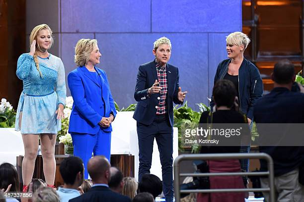 Amy Schumer Hillary Clinton Ellen Degeneres and Pink appear at 'The Ellen Degeneres Show' Season 13 BiCoastal Premiere at Rockefeller Center on...