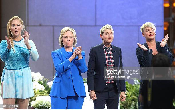 Amy Schumer Hillary Clinton Ellen DeGeneres and Pink attend 'The Ellen DeGeneres Show' Season 13 BiCoastal Premiere at Rockefeller Center on...