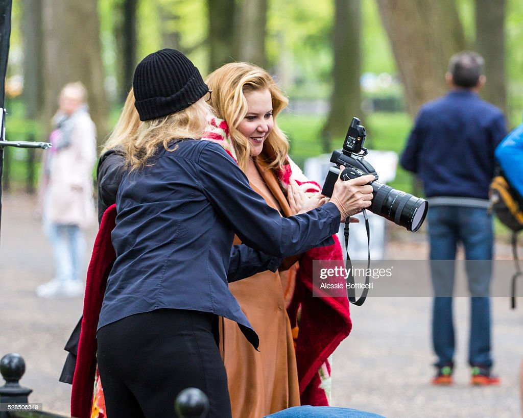 Amy Schumer is seen during a photoshoot in Central Park on May 5, 2016 in New York City.