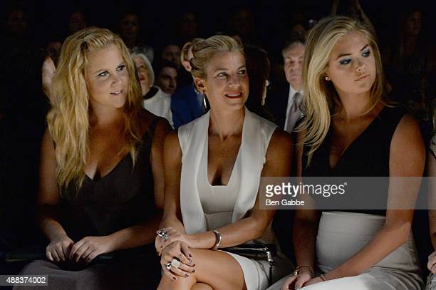Amy Schumer Jessica Seinfeld and Kate Upton attend the Narciso Rodriguez Spring 2016 fashion show during New York Fashion Week at SIR Stage 37 on...