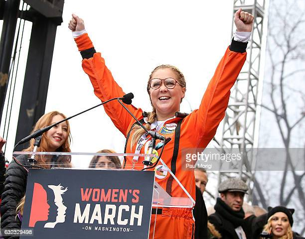 Amy Schumer speaks onstage during the rally at the Women's March on Washington on January 21 2017 in Washington DC