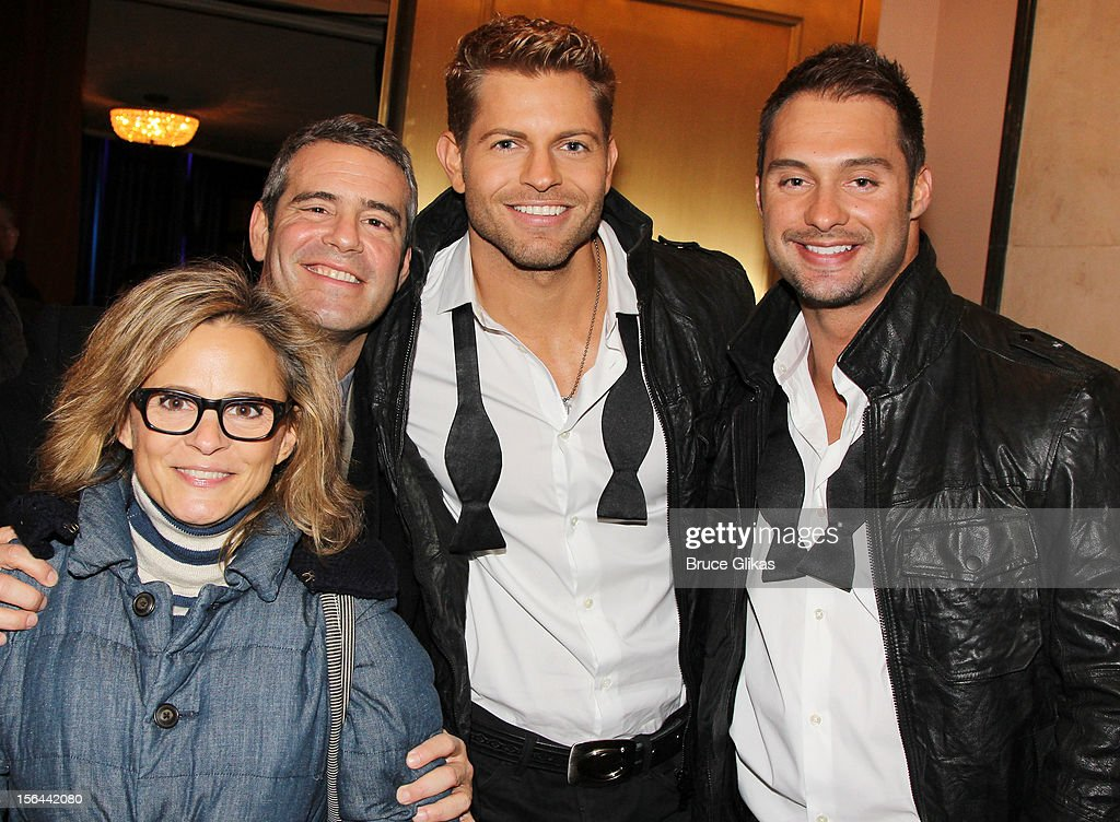 <a gi-track='captionPersonalityLinkClicked' href=/galleries/search?phrase=Amy+Sedaris&family=editorial&specificpeople=209343 ng-click='$event.stopPropagation()'>Amy Sedaris</a>, Andy Cohen and 'The Amazing Race' Team Chippendales Jaymes Vaughan and James Davis attend the opening night of 'The Performers' on Broadway at the Longacre Theatre on November 14, 2012 in New York City.