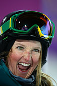 Amy Sheehan of Australia reacts in the Freestyle Skiing Ladies' Ski Halfpipe Qualification on day thirteen of the 2014 Winter Olympics at Rosa Khutor...