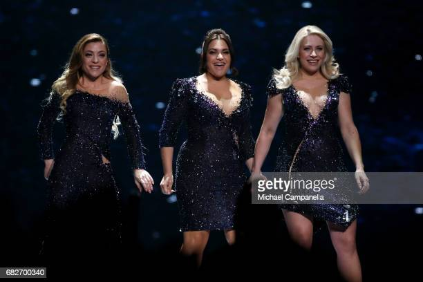 Amy Shelley and Lisa Vol of the band OG3NE representing the Netherlands are seen on stage during the final of the 62nd Eurovision Song Contest at...
