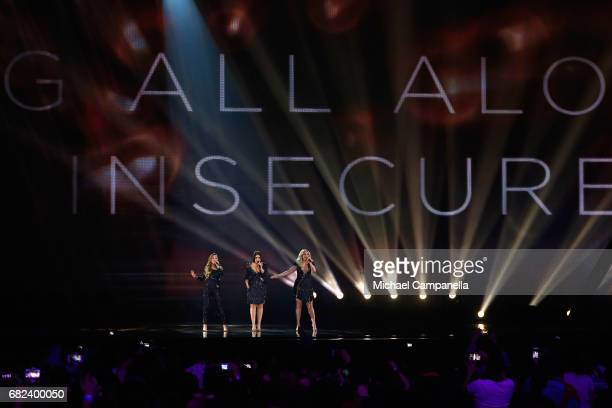 Amy Shelley and Lisa Vol of the band OG3NE representing the Netherlands perform the song 'Lights and Shadows' during the rehearsal for ''The final of...