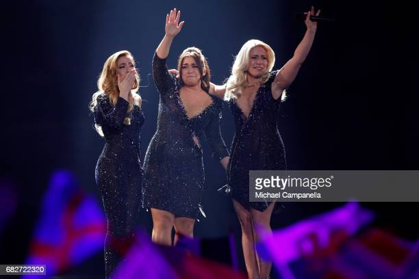Amy Shelley and Lisa Vol of the band OG3NE representing the Netherlands perform the song 'Lights and Shadows' during the final of the 62nd Eurovision...