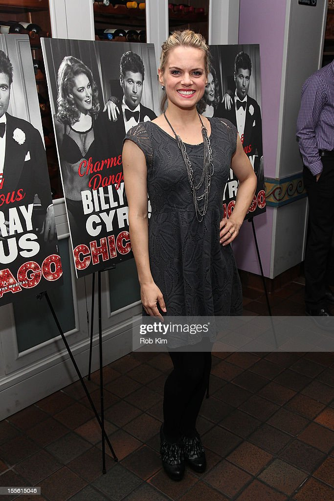 <a gi-track='captionPersonalityLinkClicked' href=/galleries/search?phrase=Amy+Spanger&family=editorial&specificpeople=234395 ng-click='$event.stopPropagation()'>Amy Spanger</a> attends opening night post-show celebration for Billy Ray Cyrus' Broadway stage debut as Billy Flynn in 'Chicago' at Victor's Cafe on November 5, 2012 in New York City.