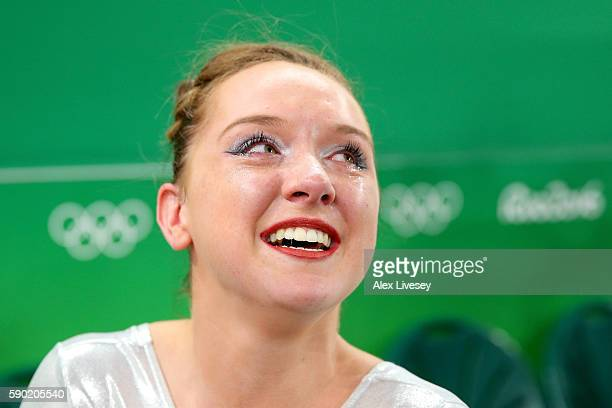Amy Tinkler of Great Britain celebrates winning the bronze medal after competing on the Women's Floor final on Day 11 of the Rio 2016 Olympic Games...