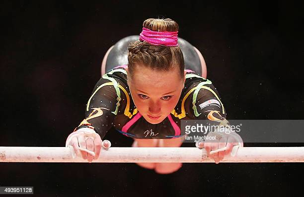 Amy Tinkler of Great Britain competes on the Uneven Bars during Day One of the 2015 World Artistic Gymnastics Championships at The SSE Hydro on...