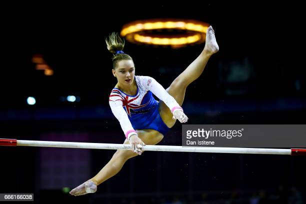 Amy Tinkler of Great Britain competes on the uneven bars during the women's competition for the iPro Sport World Cup of Gymnastics at The O2 Arena on...