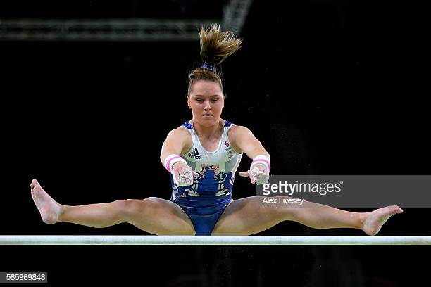 Amy Tinkler of Great Britain practices on the uneven bars during an artistic gymnastics training session on August 4 2016 at the Arena Olimpica do...