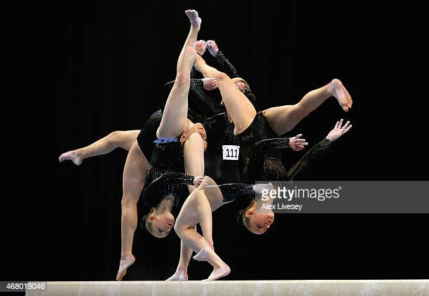 Amy Tinkler of South Durham competes in the beam during the Women's Artistic Apparatus Finals on day three of the Mens Womens Artistic British...