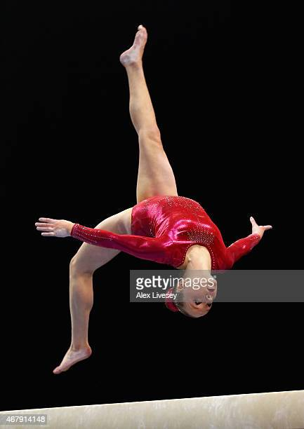 Amy Tinkler of South Durham competes on the Beam during day two of the Mens Womens Artistic British Championships 2015 at the Echo Arena on March 28...