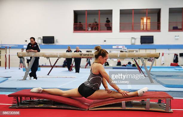 Amy Tinkler of the British Gymnastics Team stretches during a training session at Lilleshall National Sports Centre on July 12 2016 in Shropshire...