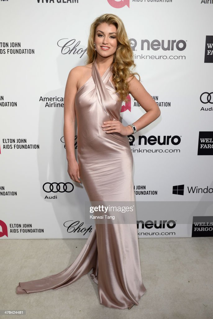 <a gi-track='captionPersonalityLinkClicked' href=/galleries/search?phrase=Amy+Willerton&family=editorial&specificpeople=8785597 ng-click='$event.stopPropagation()'>Amy Willerton</a> arrives for the 22nd Annual Elton John AIDS Foundation's Oscar Viewing Party held at West Hollywood Park on March 2, 2014 in West Hollywood, California.