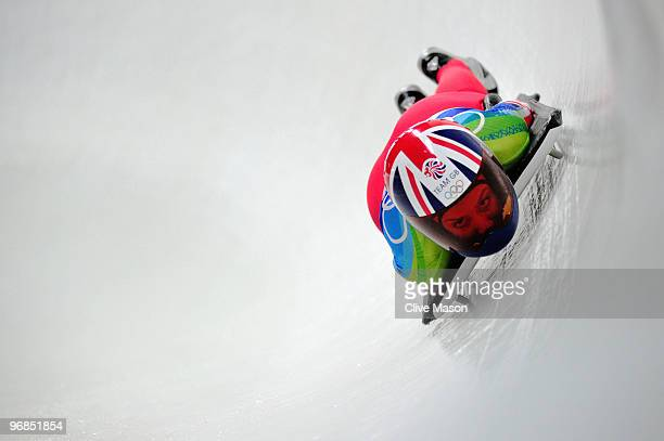 Amy Williams of Great Britain and Northern Ireland competes in the women's skeleton run 2 on day 7 of the 2010 Vancouver Winter Olympics at The...