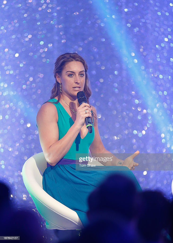 <a gi-track='captionPersonalityLinkClicked' href=/galleries/search?phrase=Amy+Williams+-+Winter+Sportswoman&family=editorial&specificpeople=6718687 ng-click='$event.stopPropagation()'>Amy Williams</a> of Great Britain talks on stage during the British Olympic Ball at The Dorchester on October 30, 2013 in London, England.