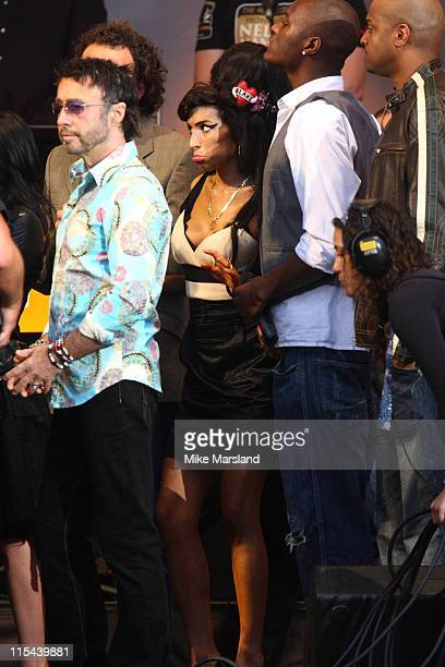 Amy Winehouse attends the 46664 Concert part of Nelson Mandela 90th birthday celebrations on June 27 2008 at Hyde Park in London Singer Paul Rodgers...