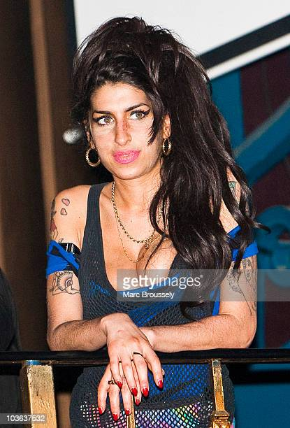 Amy Winehouse attends the Libertines show at The Forum on August 25 2010 in London England