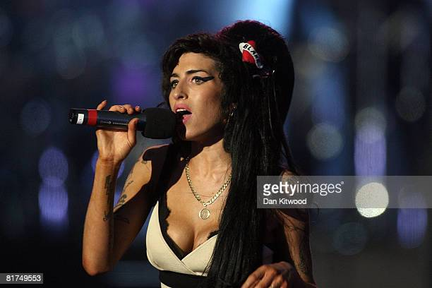 Amy Winehouse performs during the 46664 concert in celebration of Nelson Mandela's life at Hyde Park on June 27 2008 in London England