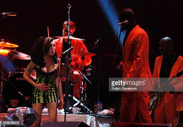 Amy Winehouse performs live at Kalemegdan Park on June 18 2011 in Belgrade Serbia This was the singer's last live concert performance before her...