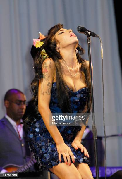 Amy Winehouse performs on the Pyramid stage at the 2008 Glastonbury Festival on June 28 2008 in Glastonbury England