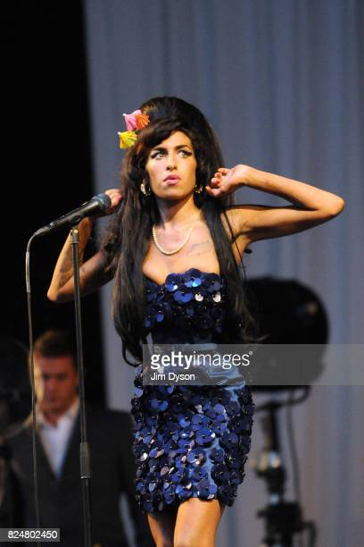 Amy Winehouse performs on the Pyramid stage during day two of the Glastonbury Festival at Worthy Farm Pilton on June 28 2008 in Glastonbury Somerset...