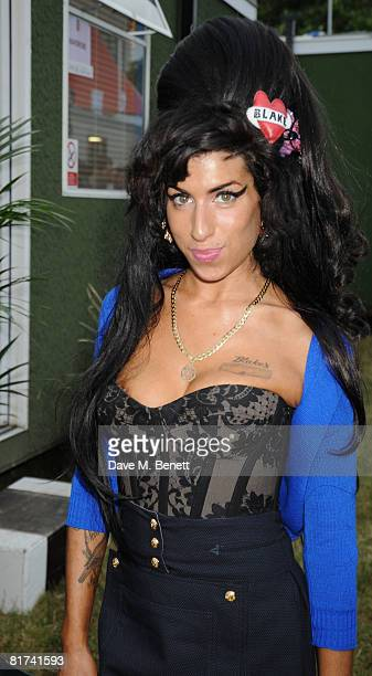 Amy Winehouse poses backstage during the 46664 Concert In Celebration Of Nelson Mandela's Life held at Hyde Park on June 27 2008 in London England