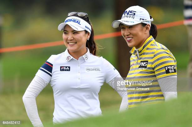 Amy Yang and So Yeon Ryu of Republic of Korea smile during the final round of Honda LPGA Thailand at Siam Country Club on February 26 2017 in...