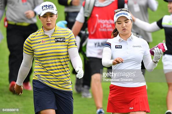 Amy Yang and So Yeon Ryu of Republic of Korea walks during the final round of Honda LPGA Thailand at Siam Country Club on February 26 2017 in...
