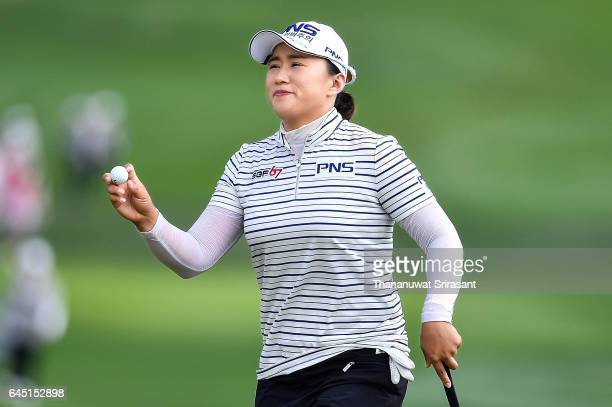 Amy Yang of Republic of Korea celebrates during the Honda LPGA Thailand at Siam Country Club on February 25 2017 in Chonburi Thailand