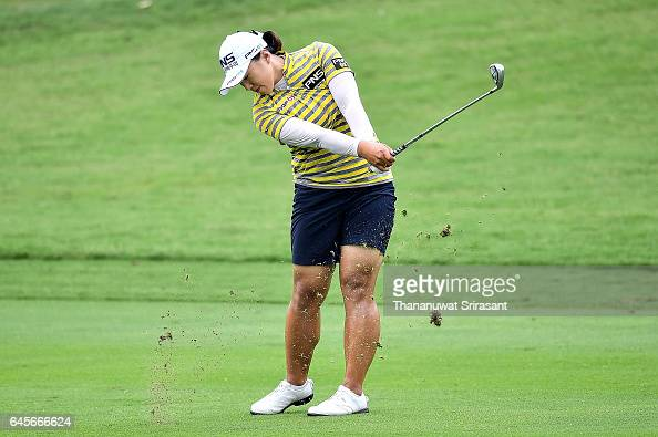Amy Yang of Republic of Korea plays the shot during the final round of Honda LPGA Thailand at Siam Country Club on February 26 2017 in Chonburi...