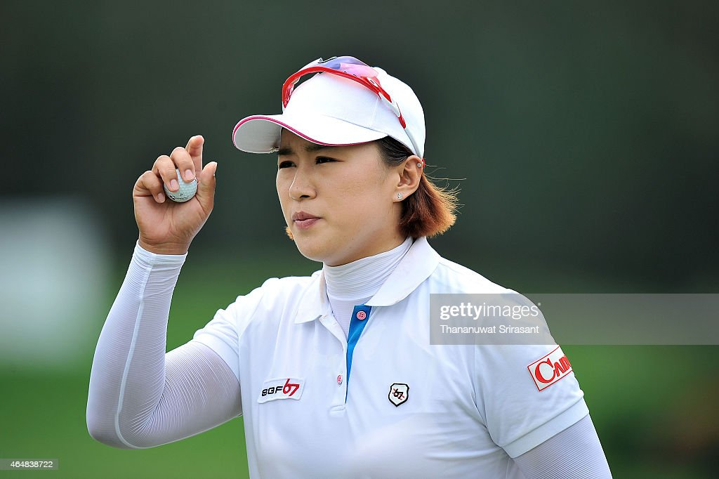 Amy Yang of South Korea acknowledges the fan during day four of the 2015 LPGA Thailand at Siam Country Club on March 1 2015 in Chon Buri Thailand