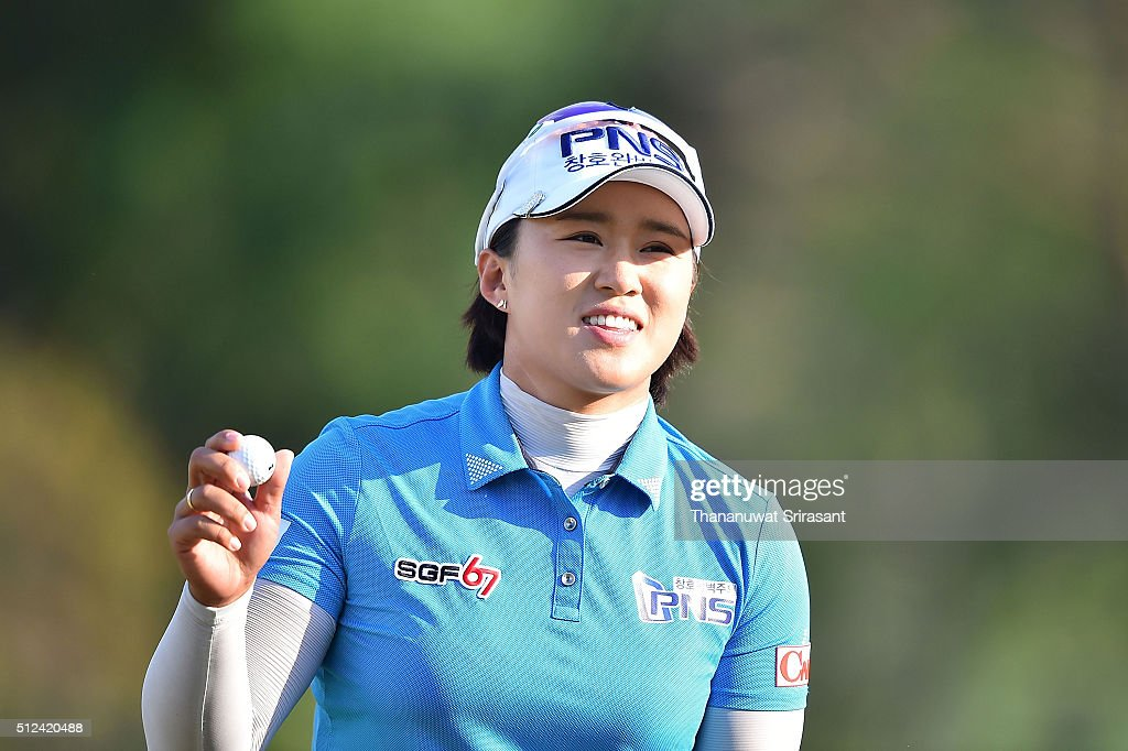<a gi-track='captionPersonalityLinkClicked' href=/galleries/search?phrase=Amy+Yang&family=editorial&specificpeople=739014 ng-click='$event.stopPropagation()'>Amy Yang</a> of South Korea acknowledges the fan during day two of the 2016 Honda LPGA Thailand at Siam Country Club on February 26, 2016 in Chon Buri, Thailand.