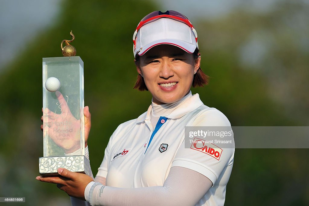 <a gi-track='captionPersonalityLinkClicked' href=/galleries/search?phrase=Amy+Yang&family=editorial&specificpeople=739014 ng-click='$event.stopPropagation()'>Amy Yang</a> of South Korea celebrates during day four of the 2015 LPGA Thailand at Siam Country Club on March 1, 2015 in Chon Buri, Thailand.