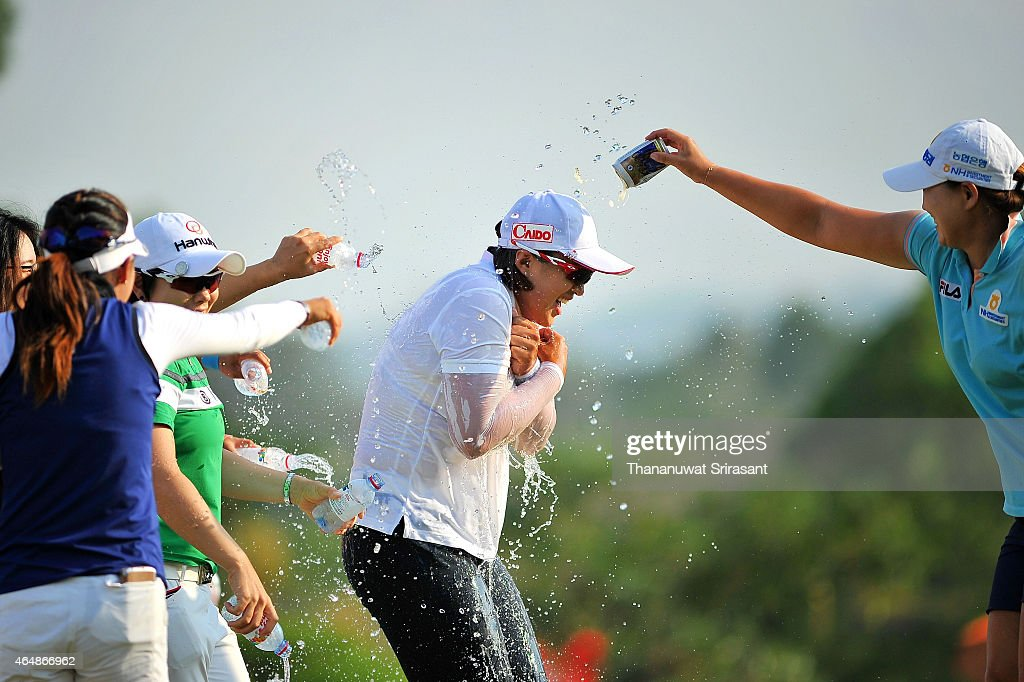 Amy Yang of South Korea celebrates winning the 2015 LPGA Thailand at Siam Country Club on March 1 2015 in Chon Buri Thailand